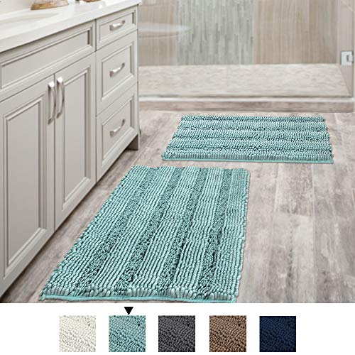 H.VERSAILTEX Non Slip Thick Shaggy Chenille Bathroom Rugs, Bath Mats for Bathroom Extra Soft and Absorbent - Striped Bath Rugs Set for Indoor/Kitchen (Set of 2-20