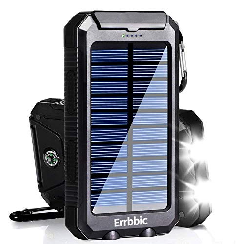 Solar Power Bank 10000mAh Solar Charger Waterproof Portable External Battery USB Charger Built in LED light with Compass for iPad iPhone Android Cellphones (Black)
