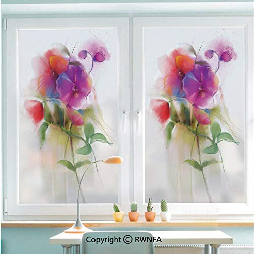 RWNFA Window Door Sticker Glass Film,Blooming Orchid Spring Bouquet Romance Natural Beauty Fragrance Anti UV Heat Control Privacy Kitchen Curtains for Glass,22.8 x 35.4 inch,Purple ()