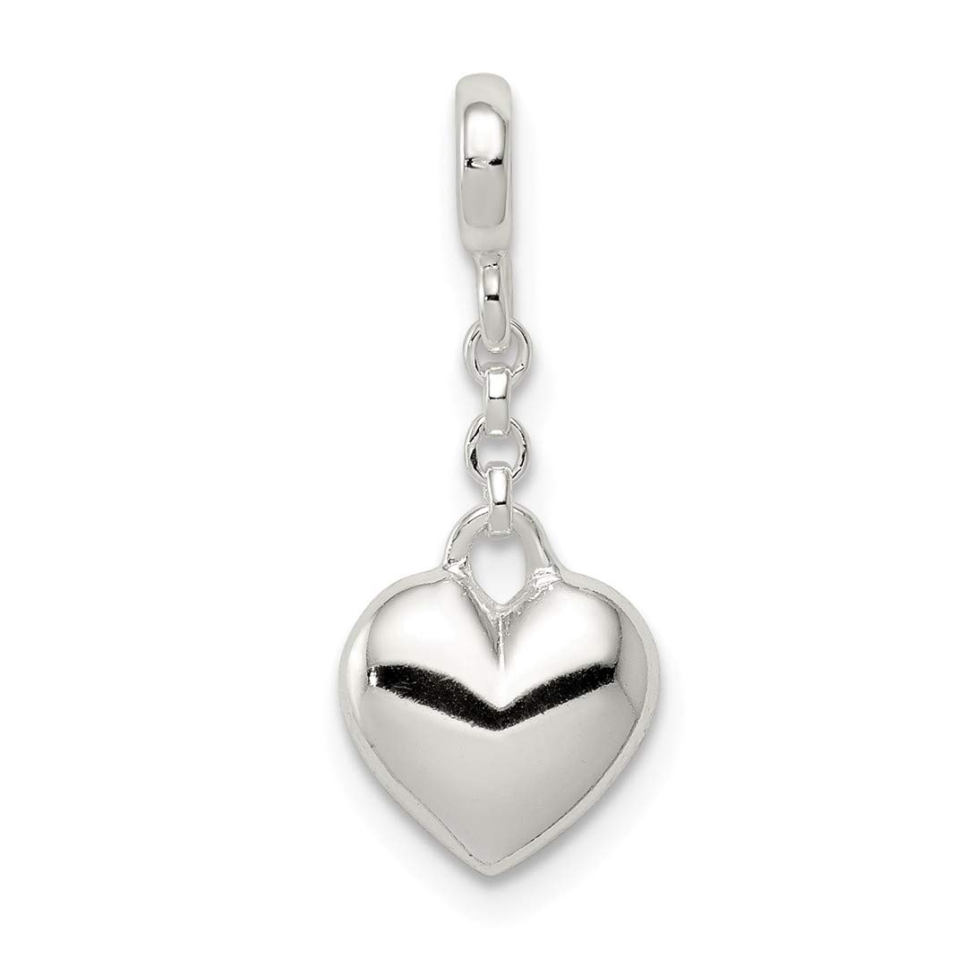 ICE CARATS 925 Sterling Silver Heart 1/2in Dangle Enhancer Necklace Pendant Charm Love Fine Jewelry Ideal Gifts For Women Gift Set From Heart