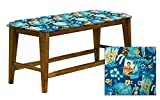 "Counter Height 25"" Tall Universal Bench in an Oak Finish Featuring a Padded Seat Cushion With Your Favorite Novelty Themed Fabric (Elvis Blue Hawaii)"