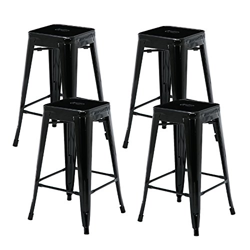Mecor 26 Inch Metal Barstools Square Seat Industrial Counter Stool Backless Retro Style Bar Chair Indoor/Outdoor,Set of 4,Black