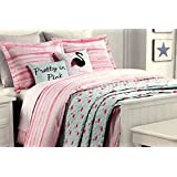 "Cynthia Rowley ""All Season"" TWIN 5-Piece ""Pretty in Pink"" Comforter Set with Bonus Quilted Coverlet in Flamingo Motif"