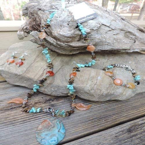Handmade Jewelry Set - Arizona Jasper Pendant & Carnelian Leaves Necklace, Bracelet & Earrings