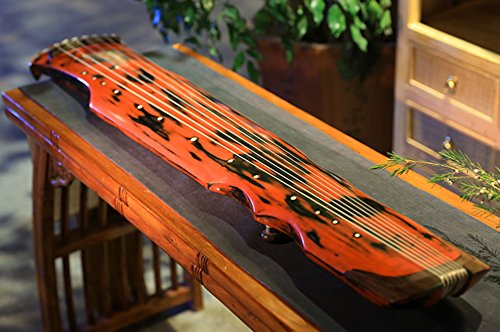 OrientalMusicSanctuary Vermillion Lacquered Aged Paulownia Guqin for Performers by OrientalMusicSanctuary
