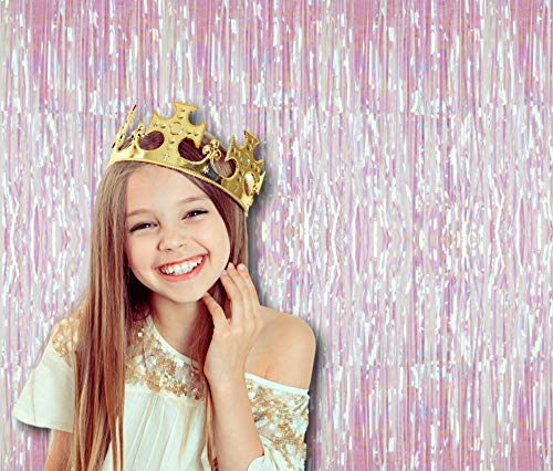 Treasures Gifted White Rainbow Iridescent Foil Fringe Metallic Curtains 3 x 8 Feet Tinsel Laser Pack of 2 Photo Booth Prop Backdrop Decoration for Unicorn Baby Shower Birthday Party -