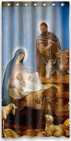 Popular design ''Christmas Nativity'' Holy Family, Tree--Three Wisemen Christmas Shower Curtain 36''(w) x 72''(h) Generic Shower Curtain Liners by Shower Curtain