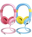 Mpow (2-Pack) Kids Headphones with 85dB Volume Limited Hearing Protection & Music Sharing Function, Kids Safe Food Grade Material, Tangle-Free Cord, Wired On-Ear Headphones for Children Toddler Baby