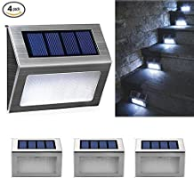 CTKcom 4 Pack LED Solar Step Lights,Outdoor Stair Lights,Stainless Steel 3 LED Solar Powered Stairs Bright White Light,Sunproof Waterproof Landscape Lamp for Deck Staircase Walkway Garden garden patio