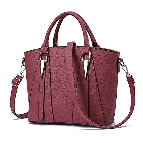 Bolsa de piel para mujer con forma de V, bolsa para el hombro, bolso de mano, estilo bandolera Rosa