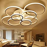 BL- Super-thin Circle Rings Modern led ceiling chandelier lamp living room bedroom modern led ceiling chandelier lights fixtures , Cool White , 8 head