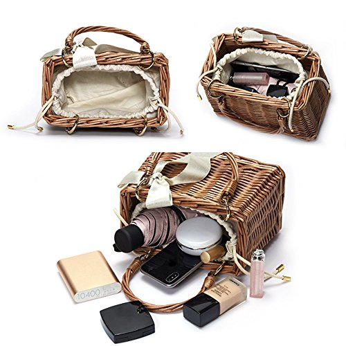 Lunch Straw Gaeruite Rattan Handmade Straw Bag Woven Woven Bag Retro Bag Rattan Storage Box Handbag Basket Bag Style Beach Woven Handbag wqUpwY