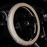 Sino Banyan Girly Cystal Steering Wheel Cover,with PU Leather Bling Bling Rhinestones,Beige