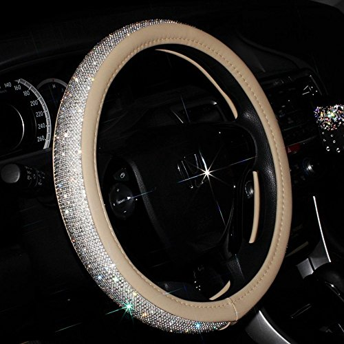Sino Banyan Girly Cystal Steering Wheel Cover,with PU Leather Bling Bling Rhinestones,Beige
