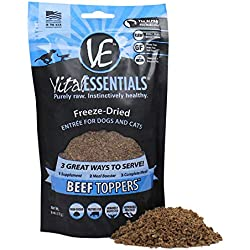 Vital Essentials Freeze Dried Beef Toppers - Premium USA Made Protein Mix-In - Just Add Water Or Simply Sprinkle On Top - 6 oz Resealable Bag