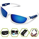 Torege Polarized Sports Sunglasses For Men Women Cycling Running Fishing Driving Baseball Golf TR90 Unbreakable Frame TR010 (White&blue)