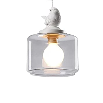 Deckenleuchte im Vogelmotiv Glasschirm Hängeleuchte Retro Deckenlampe Metall