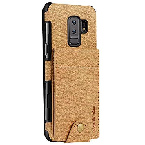 Samsung Galaxy S9 PLUS / S9P/ S9+ Hülle Brieftasche mit Kartenfächern PU Leder Geldbörse Klapptasche Case Handy Schutzhülle Multifunktional Cover Anti-Kratzer leichte Tasche Schwarz Für S9 (Klein) Gelb
