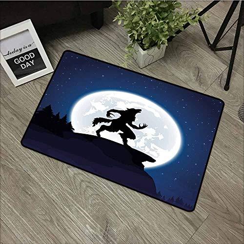 LOVEEO Indoor Doormat,Wolf Full Moon Night Sky Growling