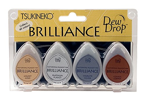 (Tsukineko 4-Pack Brilliance Dew Drop Inkpads, Planetarium)