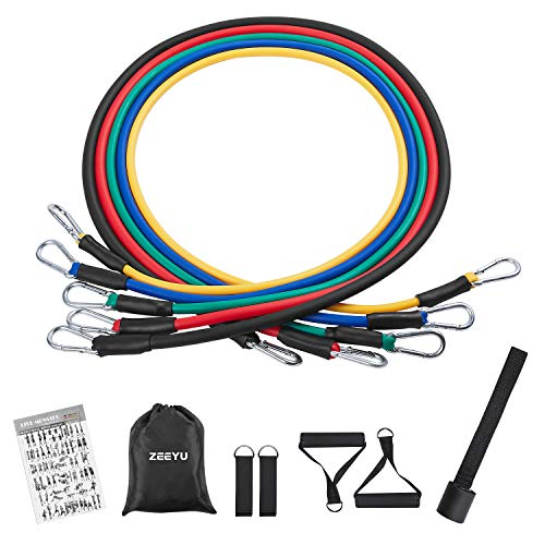 11Pcs Resistance Bands Set, Fitness Exercise Bands Yoga Workout Elastic Pull Rope Belt, Portable Stretching Strength…