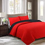 Unique Home 3-piece Reversible Bedspread Bed Coverlets Cover Sets King Size Red/Black