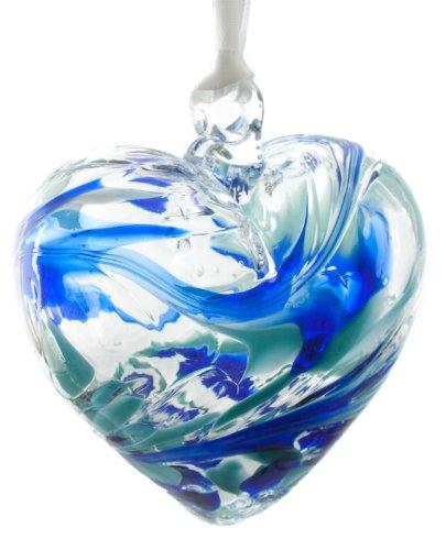 Hanging Recycled Glass (March Handmade Friendship Recycled Glass Birthstone Birthday Heart Aquamarine)