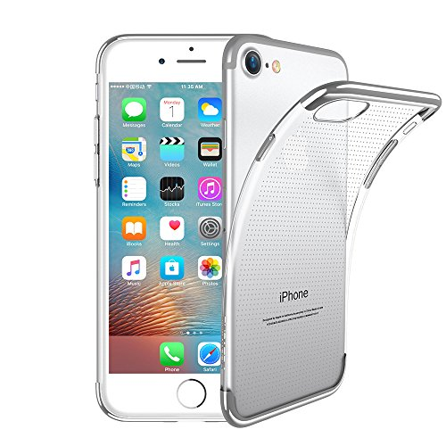 FLOVEME for iPhone 7/ iPhone 8 Slim Fit Soft TPU Cover Surrounding Border Colorful Gradient Change Ultra Thin Lightweight Electroplating Anti-Drop Clear Soft Cover Holder, Transparent Silver