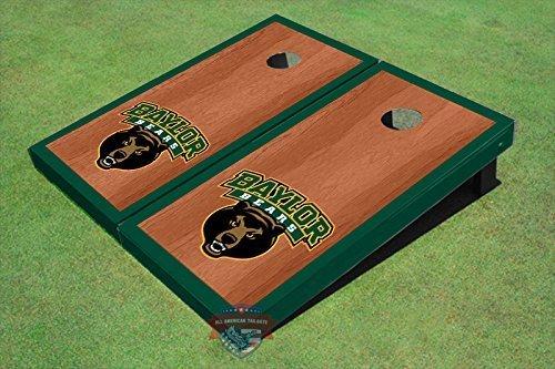 (Baylor University Bear Head Hunter Green Rosewood Matching Borders Cornhole Boards )
