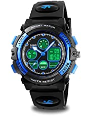 Kids Digital Sports Watch for Boys Girls, Boy Waterproof Casual Electronic Analog Quartz 7 Colorful Led Watches with Alarm Stopwatch Silicone Band Luminous Wristatches