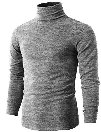 Heavyweight Mock Turtleneck - H2H Men's Premium Heavyweight Long Sleeve Mock Neck T-Shirt Pullover HeatherGray US M/Asia XL (KMTTL028)