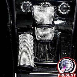 Car Gear Shift Knob & Handbrake Cover Set With Crystal Diamond