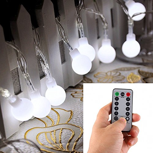 [Remote & Timer] 16 Feet 50 LED Outdoor Globe String Lights 8 Modes Battery Operated Frosted White Ball Fairy Light(dimmable, Ip65 Waterproof, Cool White) (Outdoor White Globe Lights)