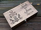 Nautical anchor personalized and custom Double wine box for two bottles