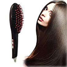 TR.OD 3 In 1 Automatic LCD Temperature Control Non Damage Detangling Anion Hair Care Anti Scald Hair Straightener Brushes (Black)