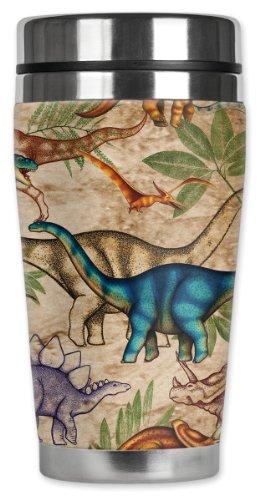 Jungle Mug (Mugzie Jungle Dinosaurs Travel Mug with Insulated Wetsuit Cover, 16 oz, Black)