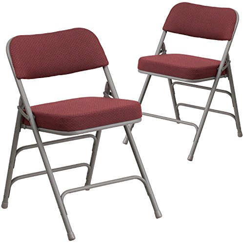Flash Furniture 2 Pk. HERCULES Series Premium Curved Triple Braced & Double Hinged Burgundy Fabric Metal Folding (Fabric Metal Folding Chair)