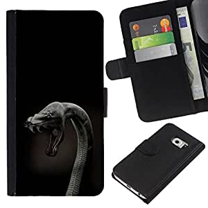 All Phone Most Case / Oferta Especial Cáscara Funda de cuero Monedero Cubierta de proteccion Caso / Wallet Case for Samsung Galaxy S6 EDGE // Cobra Snake Close Up