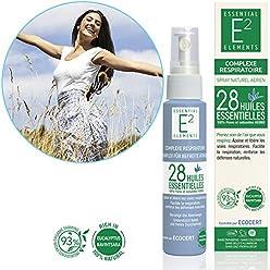 """E2 Complexe Respiratoire - Spray aérien naturel aux 28 huiles essentielles 3 en 1 Pulvérisation - Inhalation humide - Dans un mouchoir""""Facilite la respiration, renforce les défenses naturelles."""""""