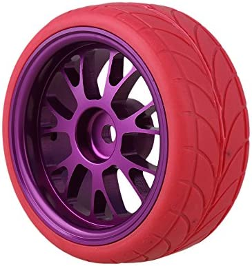 Mxfansパープルアルミ合金Y型ホイールリム+赤矢印パターンラバータイヤタイヤスポンジ挿入for RC 1: 10On Road Car Set of 4