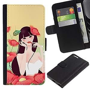 """Apple (5.5 inches!!!) iPhone 6+ Plus , la tarjeta de Crédito Slots PU Funda de cuero Monedero caso cubierta de piel ("""" Girl Flowers Make Up Red Lips Sexy Nature"""")"""