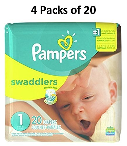 Pampers Swaddlers Diapers, Size 1, 20 Count Pack of 4 (Total of 80 Pampers)