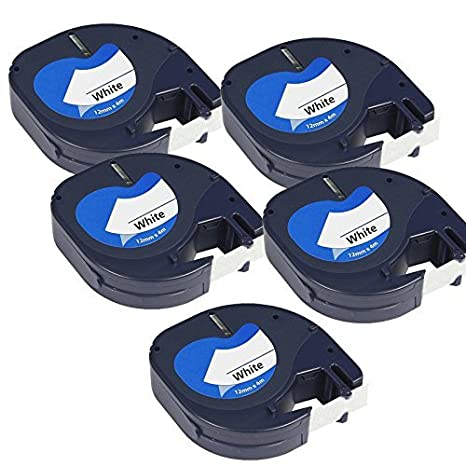 5 Casetes de Cinta compatibles con Dymo LetraTag 91201 S0721610 S0721660 Negro sobre Blanco 12mm x 4m para DYMO LetraTag LT110T, LT100H, LT100T, QX50, ...