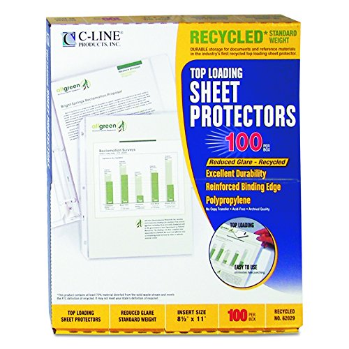 C-Line Recycled Standard Weight Polypropylene Sheet Protectors, 8.5 x 11 Inches, Clear - Reduced Glare, 100 per Box (62029)