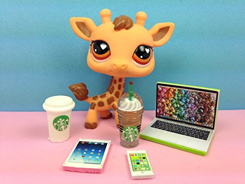LPS Accessories Starbucks Littlest Pet Shop 5 pc. Lot Set: Laptop, Tablet, Phone, + 2 Starbucks; PET NOT - Les Little Pet Shop
