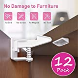 Cabinet Locks Child Safety Latches - [Newborn Gift] BabeCare 12 Pack Easy Installation Baby Proofing Cabinet and Adhesive Drawer Latch - No Screw Drilling Needed - A Must Have for New Parents.