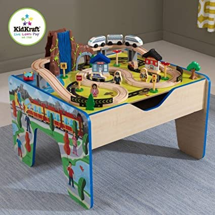 Amazon.com: 48 Piece KidKraft Rapid Waterfall Train Set and Wooden ...