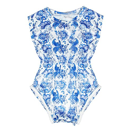 Price comparison product image Puseky Newborn Baby Girls Blue & White Porcelain Floral Romper Jumpsuit Outfits (0-6 Months,  Blue & White)