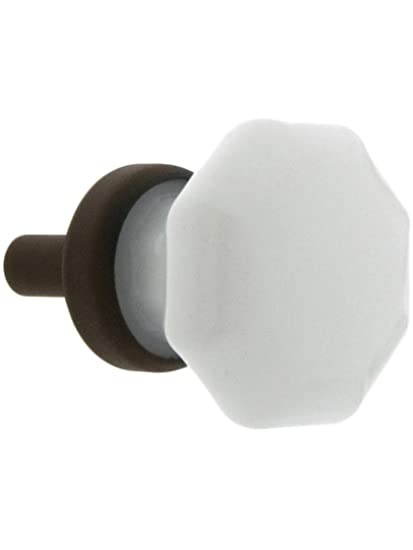 Genial Small Octagonal Milk Glass Knob With Brass Base In Oil Rubbed Bronze