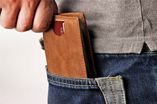 Credit Money Men's Secure Bifold Thin Holder Carder Purse Real Black Brown Wallet Blocking Clip ACMEDE® Ultra With Minimalist Leather RFID x7zEqanYw